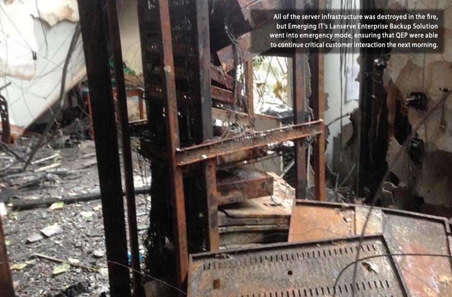 Fire damaged QEP office