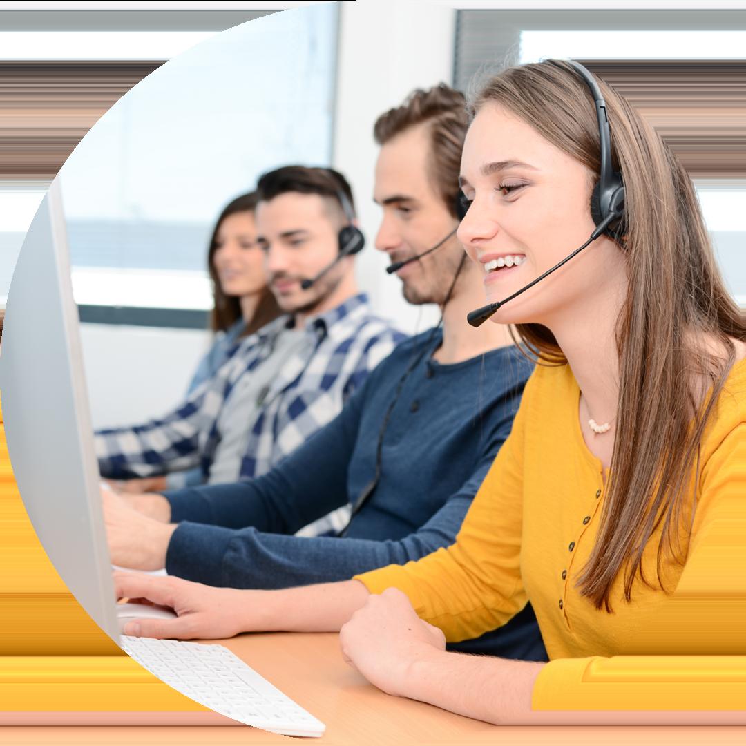 employees making phone calls circle